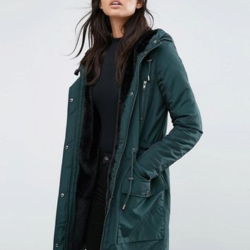 Y.A.S Calvein Padded Parka Coat at asos.com