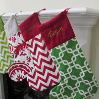 Christmas Stocking - Holiday Home Decor - Choose Your colors and Prints - Personalized