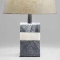 Black and White Marble Rectangular Accent Lamp Base