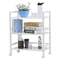 LANGRIA 3-Tier Wire Mesh Rolling Cart for Serving Utility Organization Kitchen Cart Easy Moving Flexible Wheels, 55 lbs Weight Capacity, Ivory