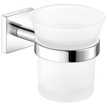 SCBA Cosmos Wall Frosted Glass Toothbrush Toothpaste Holder Bath Tumbler - Brass