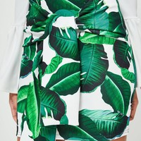 Missguided - Green Palm Print Scuba Tie Front Mini Skirt