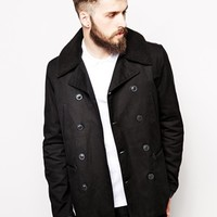 ASOS Trench With Military Styling And Borg Collar at asos.com