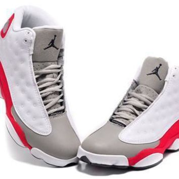 Cheap Air Jordans 13 Retro Men Shoes White Grey Red
