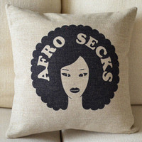 Afro Secks Print Decorative Pillow [014] : Cozyhere