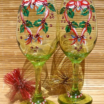 Painted Christmas Wine Glasses With Wine Charms, Holiday Gift Ideas