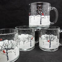 Coffee Mugs Winter Snow Scene Red Cardinals Black White Birch Trees Hand Painted Cups Set of 4 MADE TO ORDER