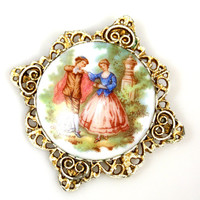 Vintage Fragonard Dancing Couple Brooch