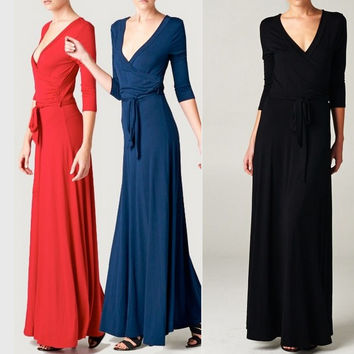 Eliza Bella for Tua Boho-Babe Black, Navy or Red  Wrap Dress SML