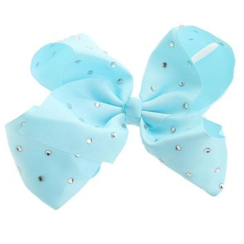 8'' Big bowknot Hair Band Satin Ribbon Girls hairpin with diamond large bow solid color hair clip jojo Headband