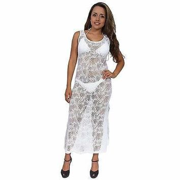 Women's Sheer Crochet Long Open Side Beach Dress Cover up Made in the USA