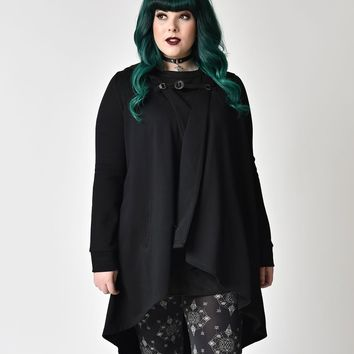 Gothic Style Black Hooded Cotton Coat