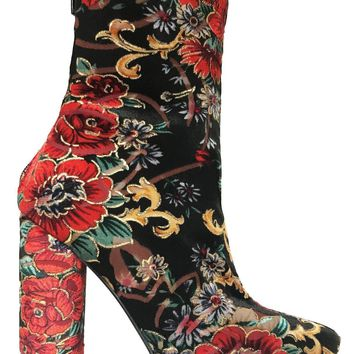 Coco Multi Color Floral Ankle High Boot Block Heel Elastic Stretchy Pointed Toe
