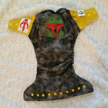 Boba Fett - Mandalorian Cloth Diaper Cover or Pocket Diaper - One-Size or Newborn, S, M, L