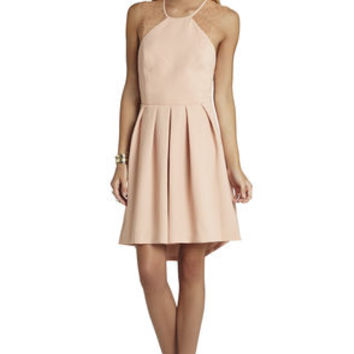Lace-Trim Pleated-Skirt Dress in Pink - BCBGeneration