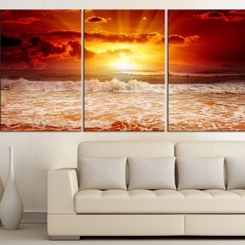 3 Piece Red Sunset on the Sea Canvas ART Print  - Large Wall Art Sea Seasccape Art Print - Canvas Large Wall Art Print - MC159