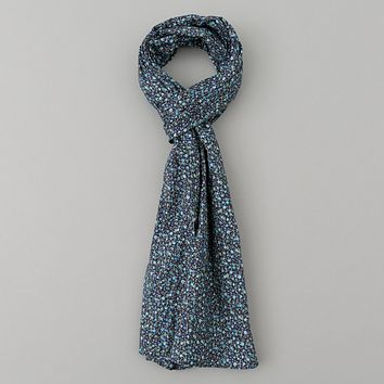 Lightweight All-Over Floral Print Scarf, Navy
