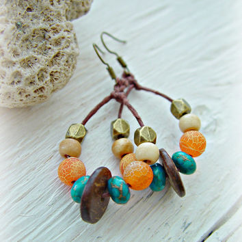 African Earrings - Boho Earrings - Boho Jewelry - African Jewelry - Hippie Earrings - Tribal Earrings - Eco Earrings -