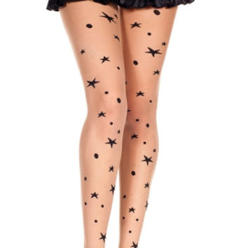Moon and Star Print Pantyhose