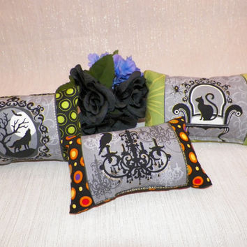 Halloween Ornamental Mini Pillows Set of Three Wolf Raven Black Cat
