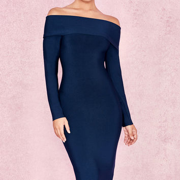 Clothing : Bandage Dresses : 'Anais' Midnight Blue Bandage Bardot Dress
