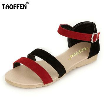 TAOFFEN women ankle bohemia strap slippers sandals brand sexy fashion ladies suede leather footwear shoes P23524 size 34-43