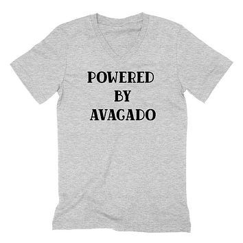 Powered by avacado v neck, funny v neck, workout gym v necks, vegan  V Neck T Shirt