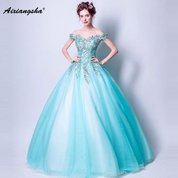 2018 Blue V-Neck Short Sleeves Ball Gown Long Appliques Flower Elegant Quinceanera Dresses vestido de debutante Ball Gown dress