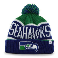 NFL Officially Licensed '47 Brand Seattle Seahawks Blue Calgary Cuff Pom Beanie Hat Cap Lid Skull