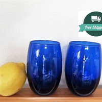 Cobalt Blue Glasses, Drinking Water Wine Set, Blue Glass, FREE US Shipping
