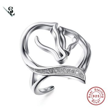 Double Horse Head Rings Genuine 925 Sterling Silver Rings jewelrys For women Gift anillos Adjustable Size Women Rings SR0210