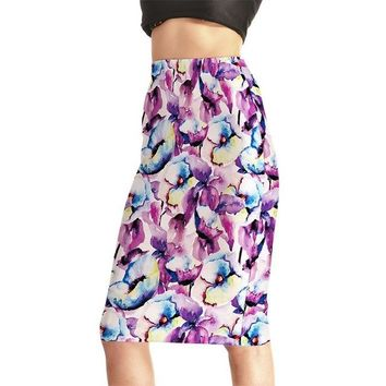 Family Friends party Board game Europe New Women Sexy High Waist Midi Skirts Tennis Bowling Skirts Slim Hip Purple Flowers Elastic S-4XL Female Party Apparel AT_41_3