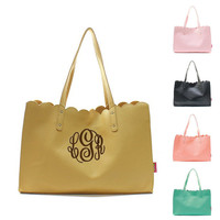 Personalized With Embroidery Leatherette Scallop Edge Shoulder Fashion Tote Bag Monogramming Free With Purchase