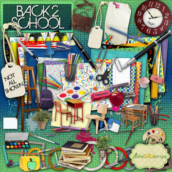 Back2School - Digital Scrapbook Kit and  FREE QuickPage