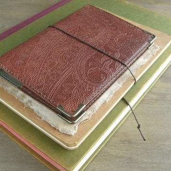 leather binder, slim planner, simple leather planner, handy journal, refillable journal, for filofax pocket refill, handstitched, veg tanned