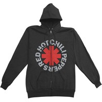 Red Hot Chili Peppers Men's  Asterisk Zip Zippered Hooded Sweatshirt Black