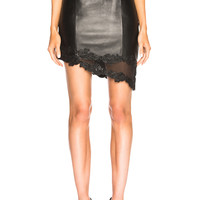 BALMAIN Leather Mini Skirt in Black | FWRD