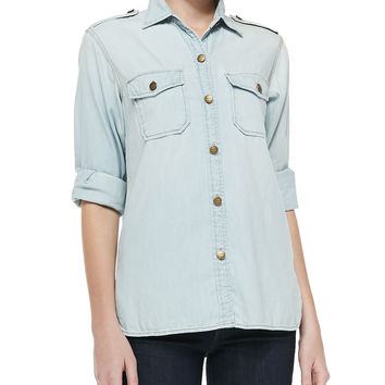 The Perfect Distressed Denim Shirt, Size: