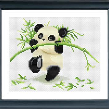 Baby Panda Cross Stitch Pattern, Instant Download, Free shipping, Cross Stitch PDF, Cross Stitch Animal, D02413