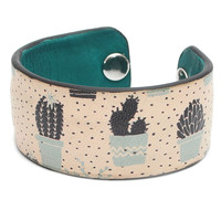 Lovely Cactus Print Handmade Leather Bracelet Jewelry HLB_01
