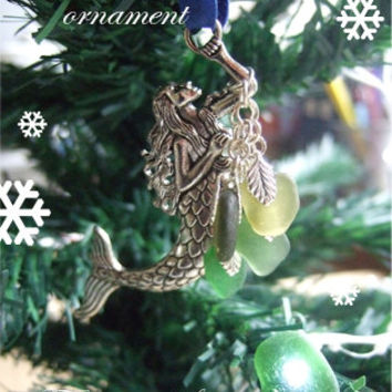 "Mermaid ornament, Scottish sea glass mermaid, suncatcher and ornament for Christmas tree, sea glass mermaid, 3"" silver mermaid, xmas deco"