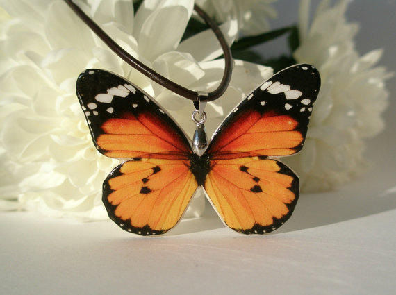Orange Black Butterfly Polymer Clay Necklace by cushyadornments
