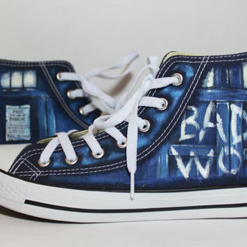 "The Bad Wolf ""Doctor Who"" converse shoes Blue"