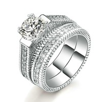 Majestic 2 Ring Set CZ Diamond Paved Crystals Wedding Ring-Women