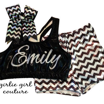 Custom Glitter Cheer Set - Metallic Chevron Shorts, Metallic Sports Bra and Chevron Bow - Multiple Color Options