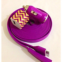 Customized Vibrant yellow and purple Chevron print I Phone charger with personality .