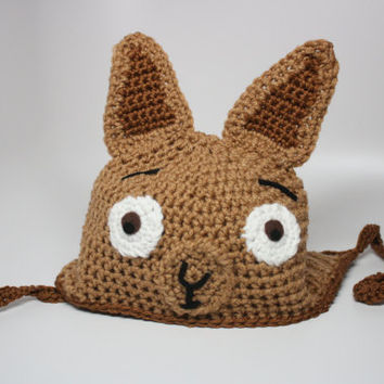 Alpaca Llama Hat in Brown Tan Cute Kawaii Animal Face Custom Crochet Earflap With Ties Beanie Sizes Newborn Baby Kids Toddler Teen Adult