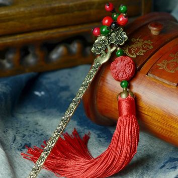 Hair Sticks Headwear Vertical Clip  New DIY Flowers Lacquer Carving Tassel Hairpins Beads Retro Jewelry Accessories F004
