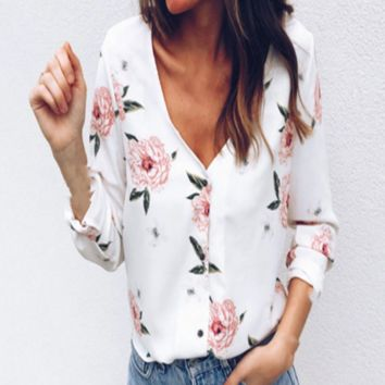 Summer New Fashion Floral Pint Long Sleeve Top Shirt Women