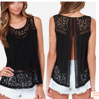Black Cutout Lace Sleeveless Slit Back Blouse